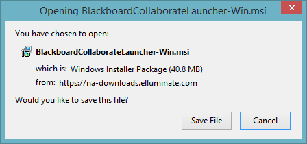 Opening BlackboardCollaborateLauncher-Win.msi dialog
