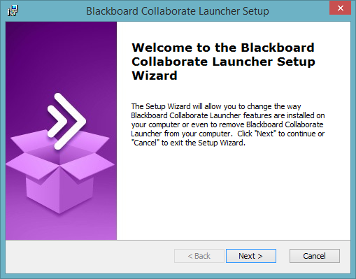Blackboard Collaborate Launcher setup wizard